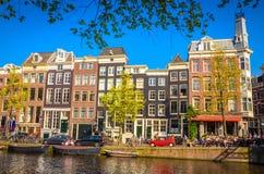 Vieux bâtiments traditionnels à Amsterdam, Netherland Image libre de droits