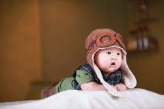 Vieux bébé asiatique de trois mois mignon heureux Photos stock