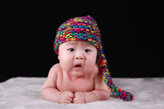Vieux bébé asiatique de trois mois mignon heureux Images libres de droits