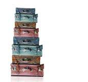 Vieux bagage de vintage d'isolement Photographie stock libre de droits
