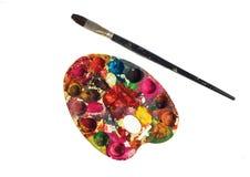 Vieux balai de palette de peinture Images stock
