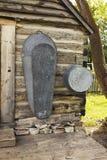 Vieux baquet de Bath sur la cabine Photos stock