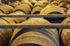 Vieux barils en bois vieillissants et tonneaux dans la cave au distillateur de whiskey Photos libres de droits