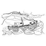 Vieux bateau de navigation sur la mer dans la tempête illustration de vecteur