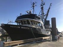 Vieux bateau de pêche de bateau s Steve occidental images libres de droits