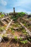 Vieux bateau en bois abandonné d'épave Images libres de droits