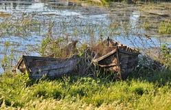 Vieux bateaux de pêche en bois Image libre de droits