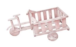 Vieux bicyclettes de fret ou vélos en bois de cargaison d'isolement sur le fond blanc avec le chemin de coupure images libres de droits