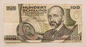 Vieux billet de banque autrichien : 100 schillings 1984 Image stock