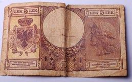 Vieux billet de banque d'Albanie Photos libres de droits