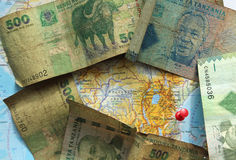 Vieux billet de banque de la Tanzanie Photo libre de droits