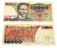Vieux billet de banque polonais Image libre de droits