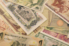 Vieux billets de banque de devises Photos libres de droits