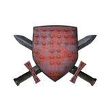 Vieux bouclier et deux épées Photo stock
