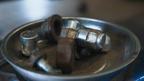 Vieux boulons rouill?s, fond industriel abstrait et texture image stock