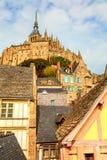Vieux buidings sur Mont Saint Michel, France de la Normandie photo libre de droits