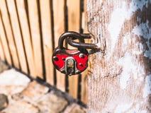 Vieux cadenas accrochant par la porte image libre de droits