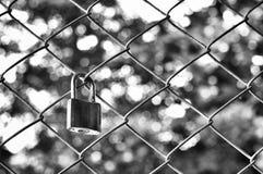 Vieux cadenas avec la barrière de maille en métal avec le fond de bokeh dans la photographie noire et blanche, concept d'amour de Photographie stock libre de droits