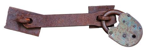 Vieux cadenas rouillé avec le loquet photographie stock libre de droits