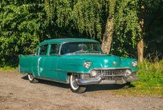 Vieux Cadillac vert dans une forêt photographie stock