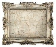 Vieux cadre argenté avec la toile grunge vide avec des fissures Photo libre de droits