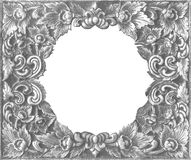Vieux cadre argenté décoratif - fait main, gravé - d'isolement sur W Image libre de droits