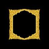 Vieux cadre décoratif d'or - fait main, gravé - d'isolement sur le bla Images libres de droits