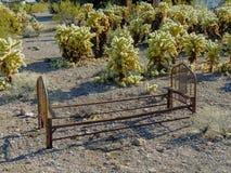 Vieux cadre de lit en métal se rouillant au sol parmi le cactus sautant dans le désert de l'Arizona dans la ville abandonnée d'ex Photos stock