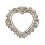 Vieux cadre de tableau argenté de coeur Image libre de droits