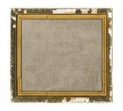 Vieux cadre de tableau en bois avec la toile vide d'isolement sur le CCB blanc Image libre de droits