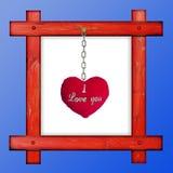 Vieux cadre rouge en bois sur un fond bleu avec le hea doux rouge Image libre de droits