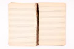 Vieux cahier d'isolement Images libres de droits