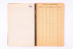 Vieux cahier d'isolement Photographie stock
