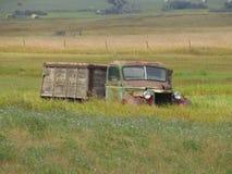 Vieux camion dans un domaine Photos stock