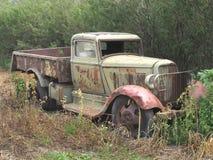 Vieux camion rouillé abandonné de ferme dans le buisson. Image libre de droits