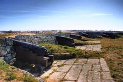 Vieux canons de village historique d'Almeida et de murs enrichis Image stock