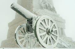 Vieux canons en métal couverts de neige photo libre de droits
