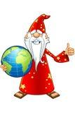 Vieux caractère rouge de magicien illustration stock