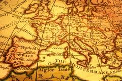 Vieux carte de l'Europe et méditerranéen Photographie stock libre de droits