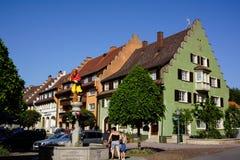 Vieux centre de ville de Loeffingen avec la fontaine photographie stock libre de droits