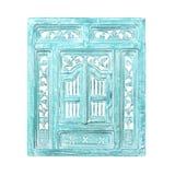 Vieux châssis de fenêtre d'isolement sur le blanc Image stock