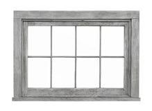 Vieux châssis de fenêtre en bois d'isolement Photographie stock libre de droits