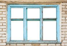 Vieux châssis de fenêtres en bois sur le mur de briques Photo stock