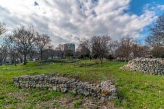 Vieux château bizantin du 12ème siècle dans Platamonas Région Macédoine Grèce d'Olympe photos stock