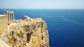 Vieux château dans la ville de Lindos, Grèce Photos libres de droits