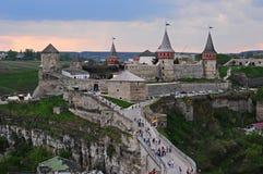 Vieux château dedans dans Kamianets-Podilskiy Images libres de droits