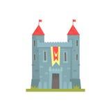 Vieux château en pierre avec des tours, illustration antique de vecteur de bâtiment d'architecture Image stock