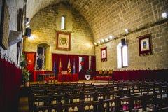 Vieux château espagnol de forteresse fait en pierre Photographie stock libre de droits