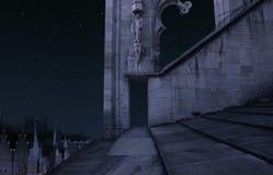 Vieux château la nuit Image stock