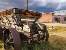 Vieux chariot dans un ghosttown Photos stock